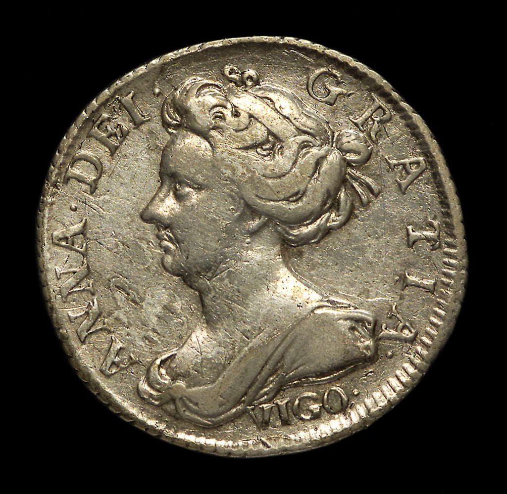Detail of Vigo sixpence; obverse by unknown