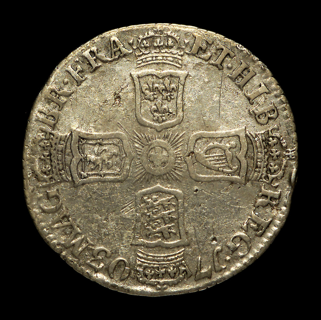 Detail of Vigo sixpence; reverse by unknown