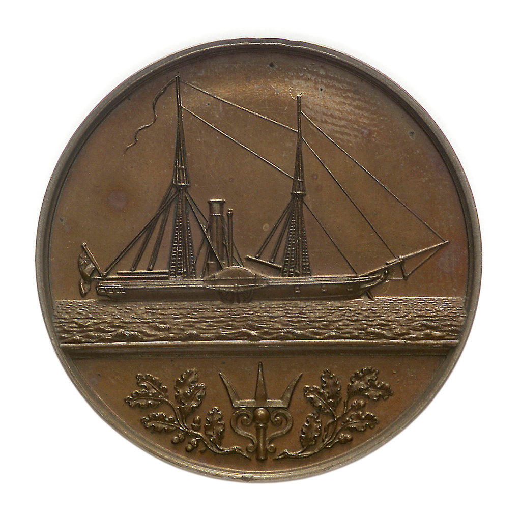 Detail of Trial piece, Naval Engineers medal; reverse by W. Wyon