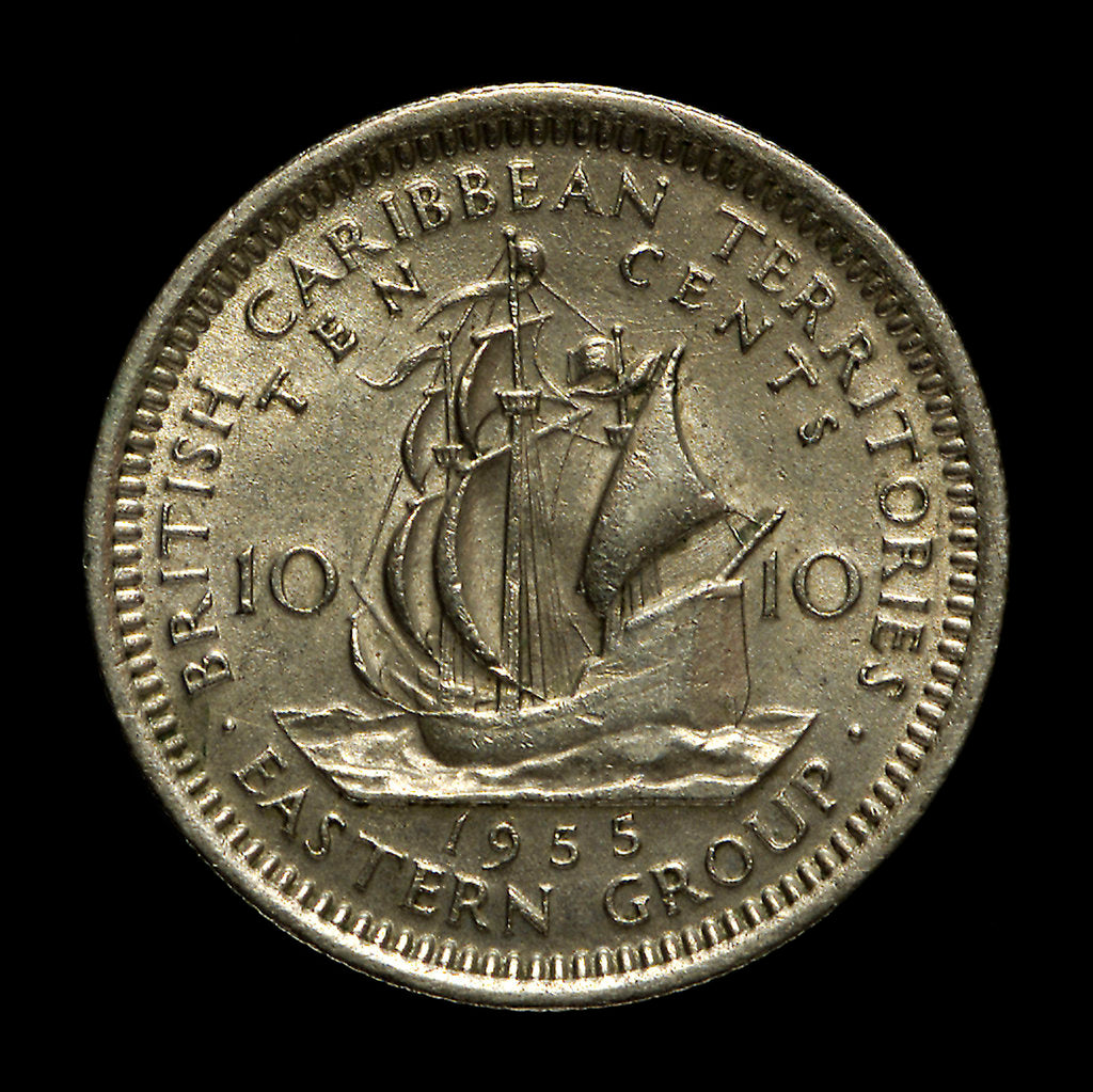 Detail of 10 cents coin; reverse by unknown