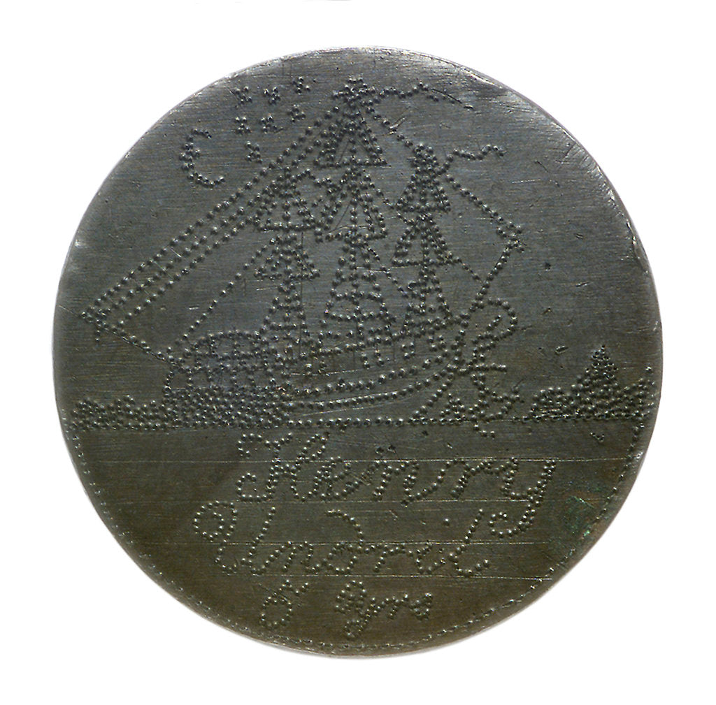 Detail of Engraved copper commemorative coin; obverse by unknown
