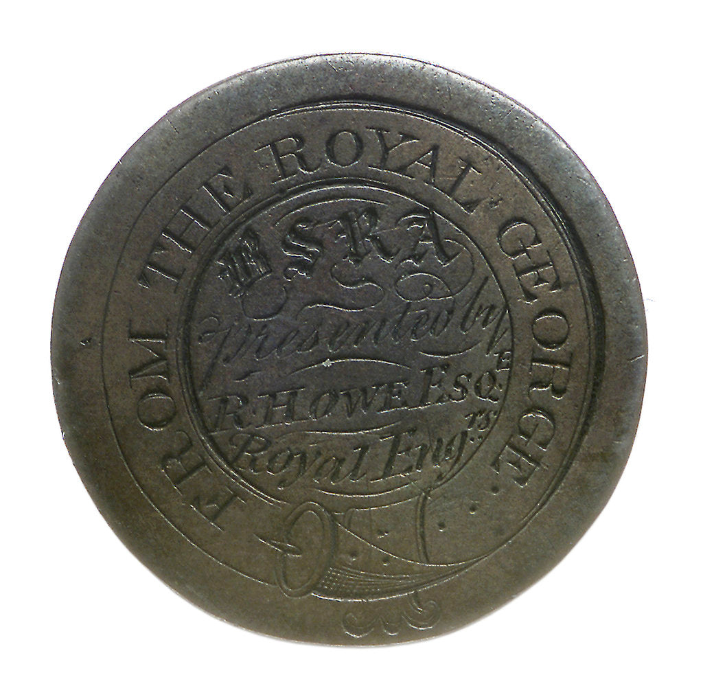 Detail of 'Royal George' token; obverse by unknown