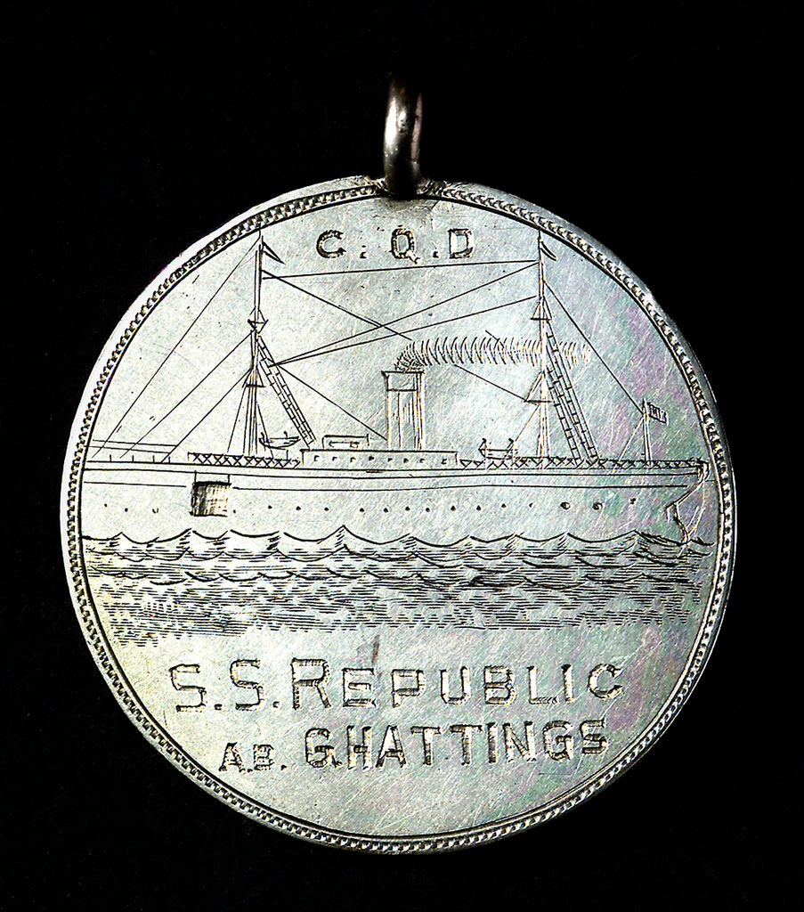 Detail of Rescue of passengers and crew of SS 'Republic'; obverse by unknown