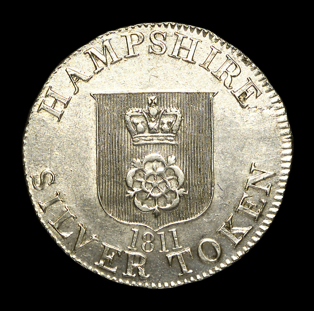 Detail of Hampshire shilling token; obverse by unknown