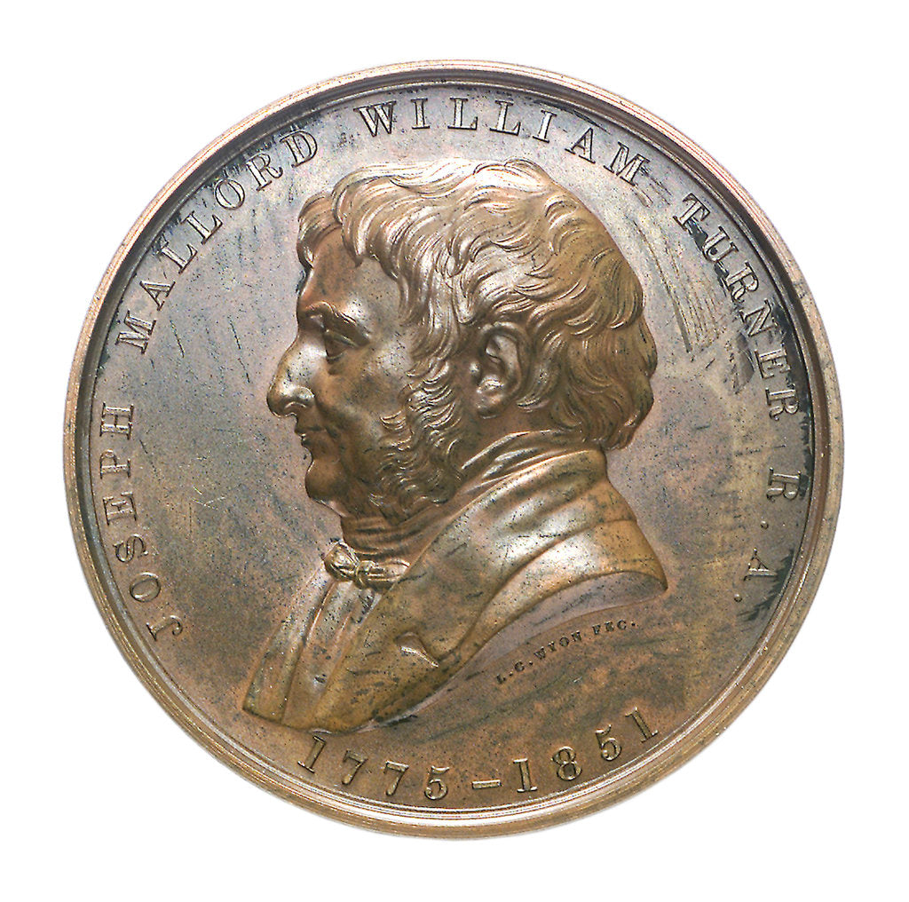 Detail of Medal commemorating 'The Fighting Temeraire' and J.M.W. Turner; obverse by L.C. Wyon