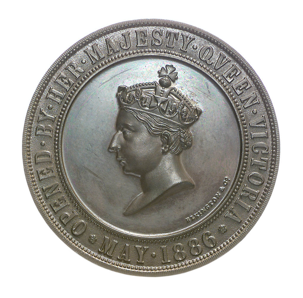 Detail of Medal commemorating the International Exhibition of Navigation, Travelling, Commerce and Manufactures, 1886; obverse by Elkington & Co. Ltd.