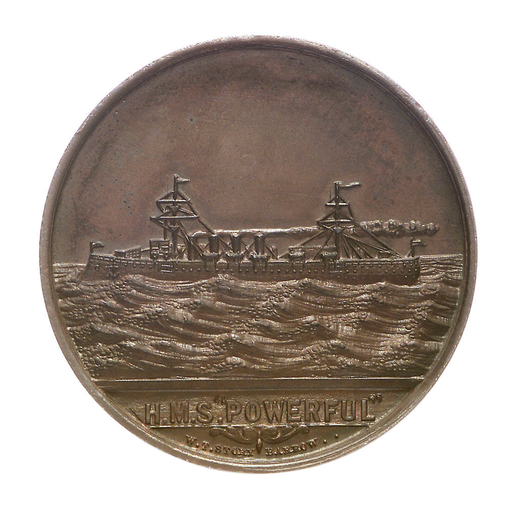 Detail of Medal commemorating the launch of HMS 'Powerful'; obverse by W.T. Story