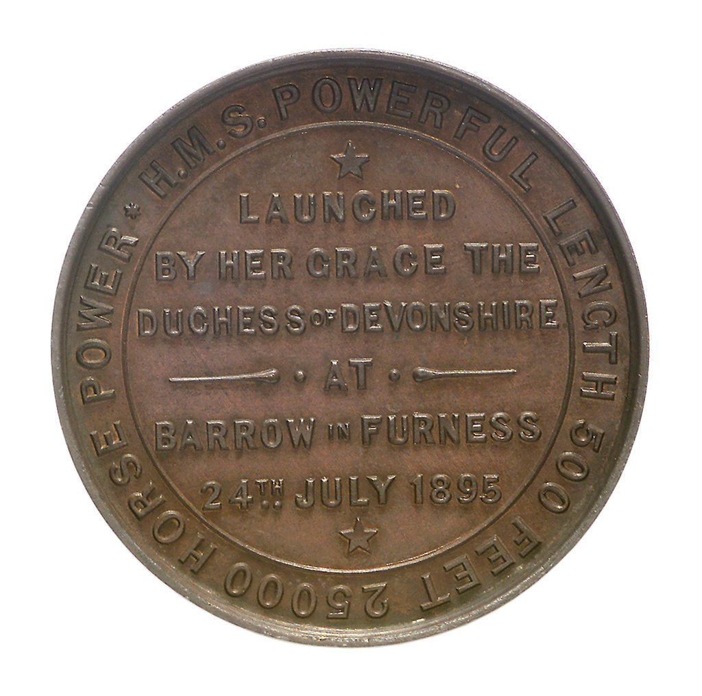 Detail of Medal commemorating the launch of HMS 'Powerful'; reverse by W.T. Story