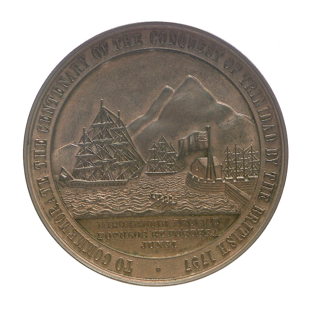 Detail of Medal commemorating the centenary of the capture of Trinidad, 1797 and Sir Ralph Abercromby (1734-1801); reverse by unknown