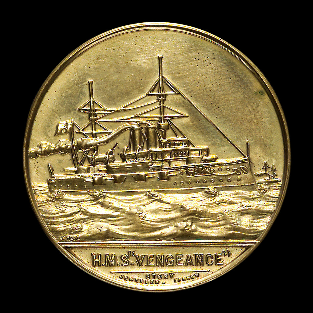 Detail of Medal commemorating the launch of HMS 'Vengeance', 1899; obverse by W.T. Story