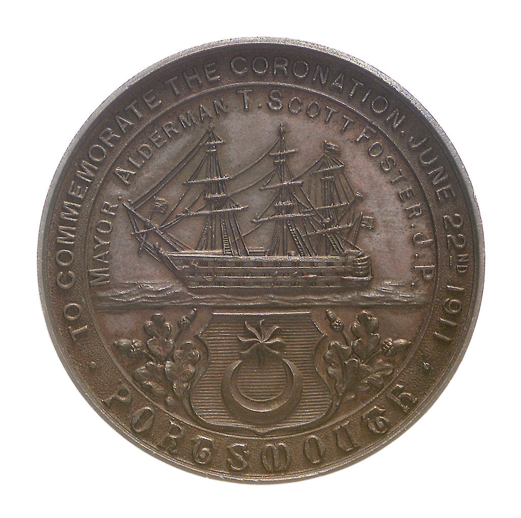 Detail of Medal commemorating the Coronation of George V, 1911; reverse by unknown