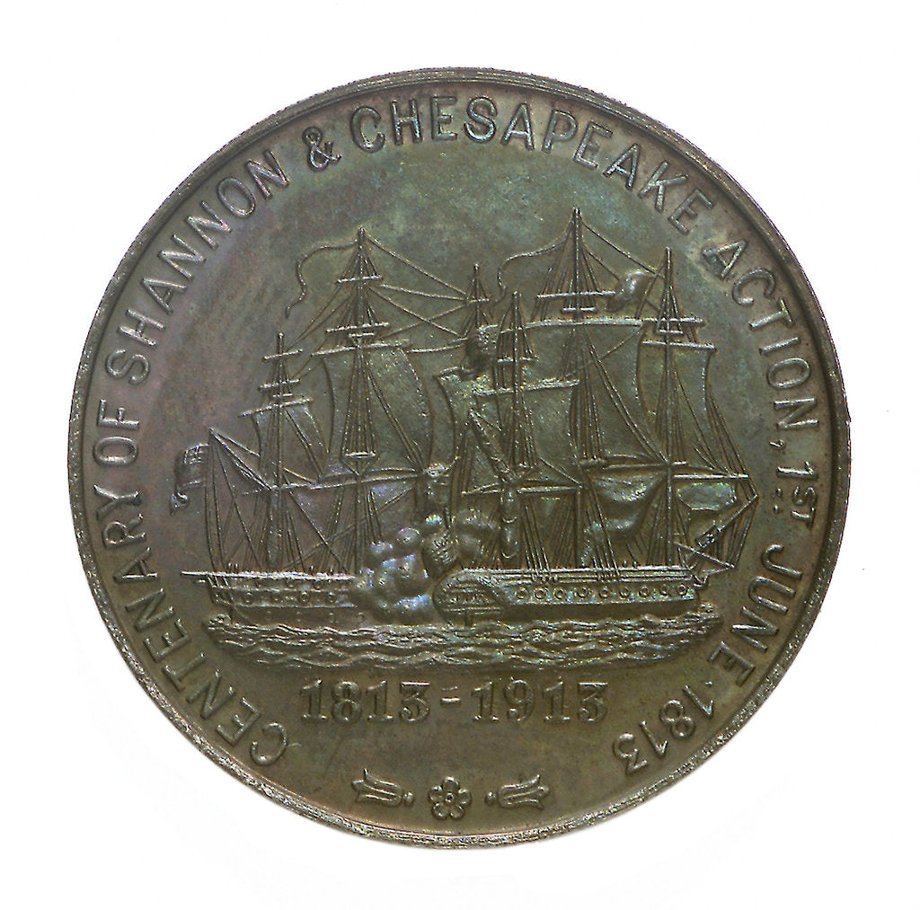 Detail of Medal commemorating the centenary of the 'Shannon' and 'Chesapeake' action, 1913; reverse by C & S Co.