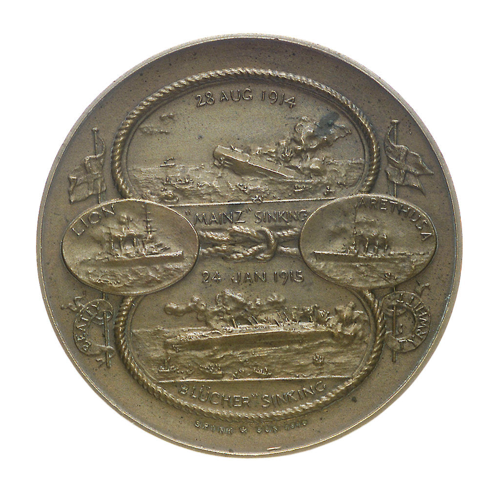 Detail of Medal commemorating the Battles of Heligoland Bight, 1914 and Dogger Bank, 1915; obverse by Marquis of Milford Haven