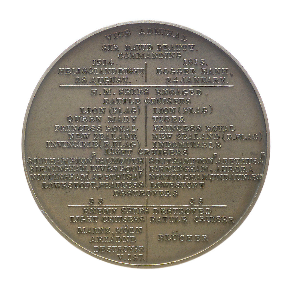 Detail of Medal commemorating the Battles of Heligoland Bight, 1914 and Dogger Bank, 1915; reverse by Marquis of Milford Haven