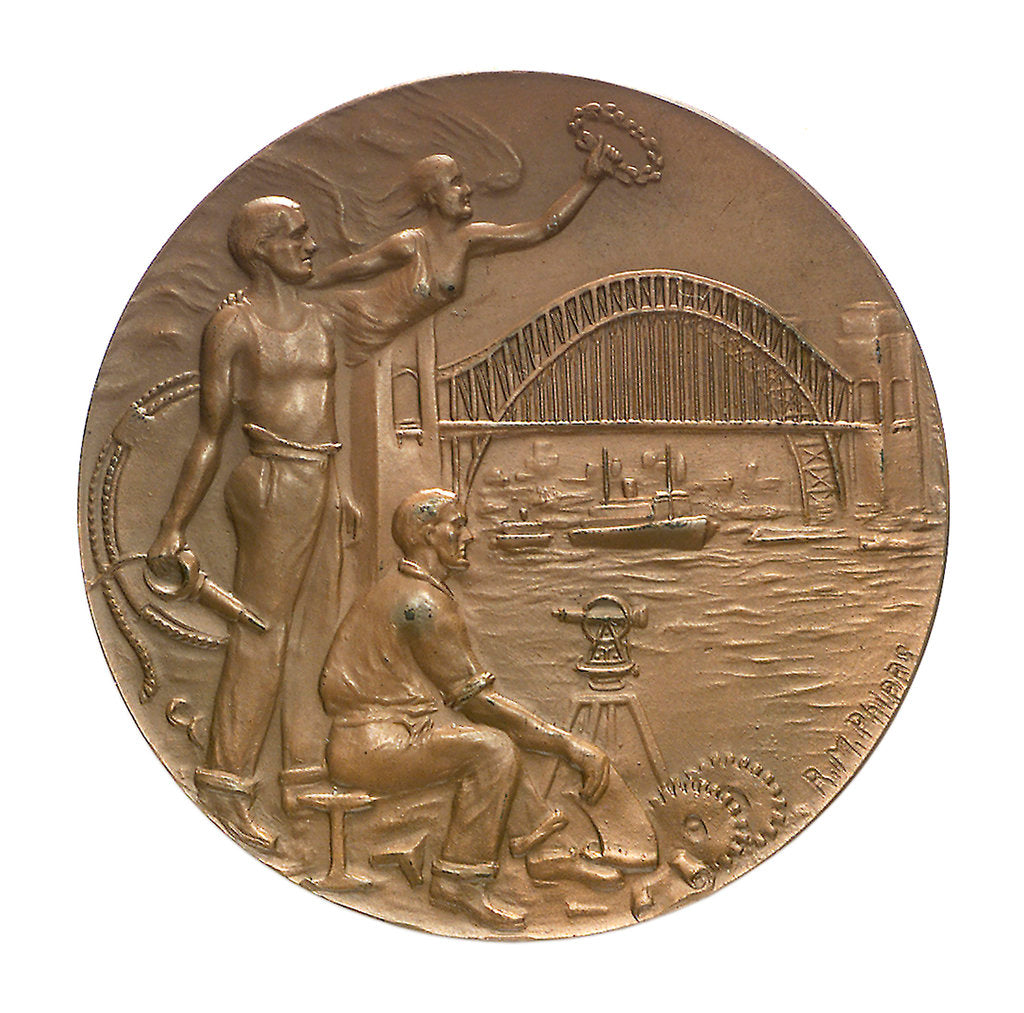 Detail of Medal commemorating the opening of Sydney Harbour bridge, 1932; obverse by R.M. Phipps