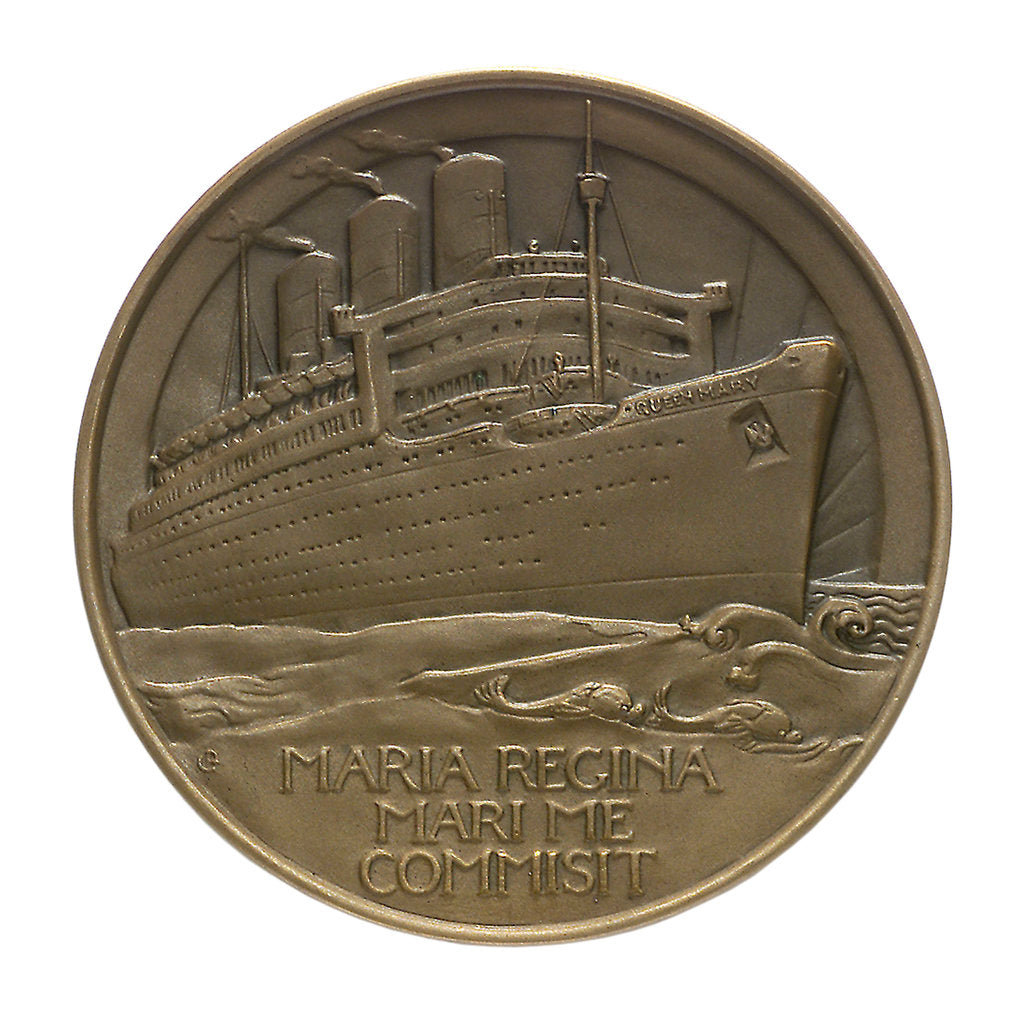 Detail of Medal commemorating the 'Queen Mary' commissioned 1936; reverse by Gilbert Bayes