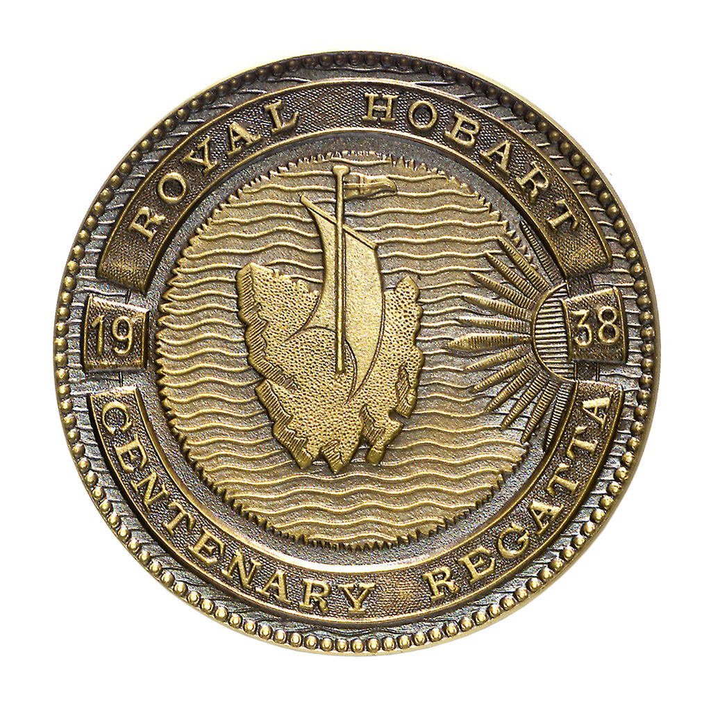 Medal commemorating the Royal Hobart centenary regatta, 1938; reverse by Stokes