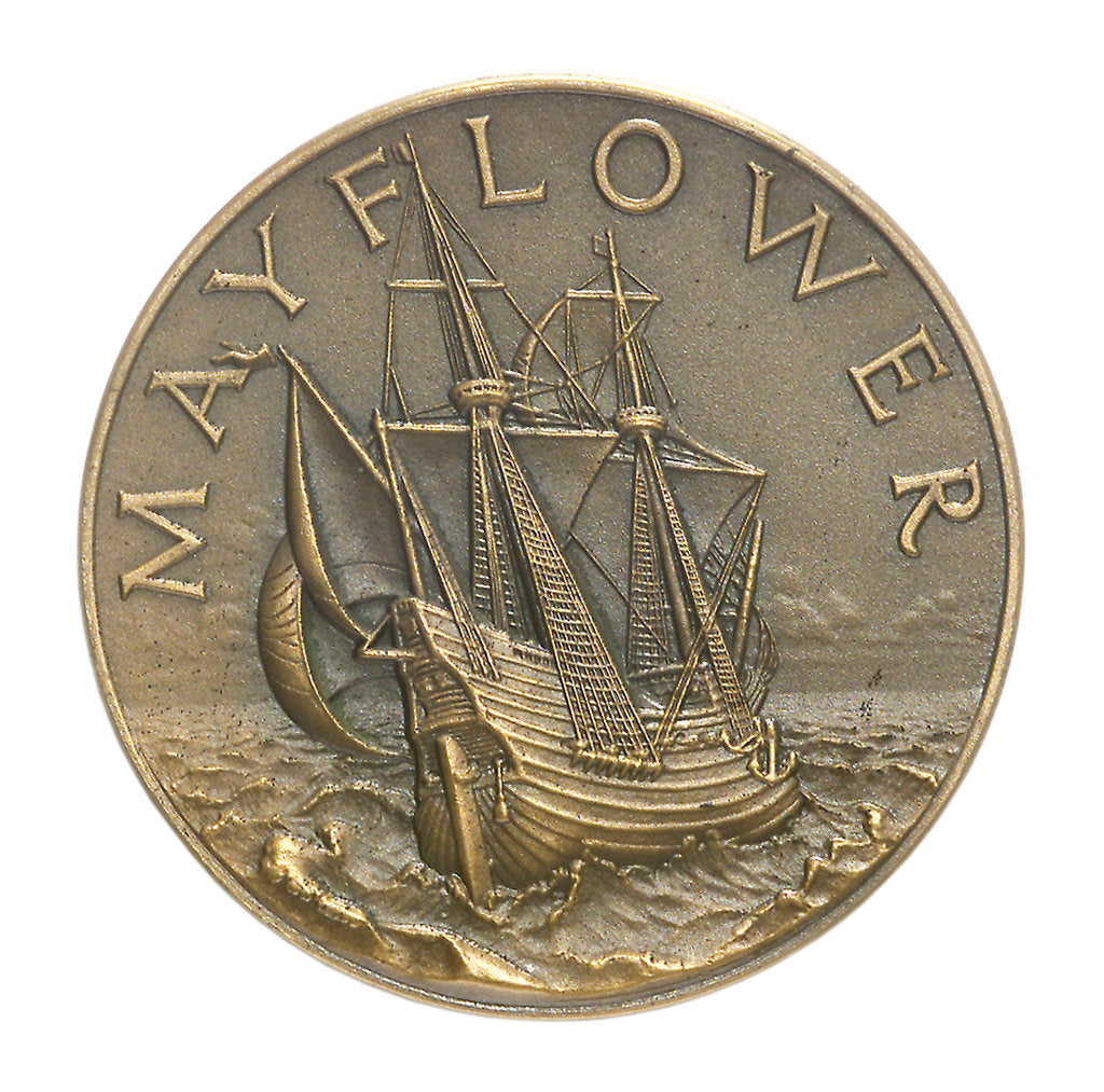 Detail of Medal commemorating the sailing of the 'Mayflower II', 1957; obverse by unknown
