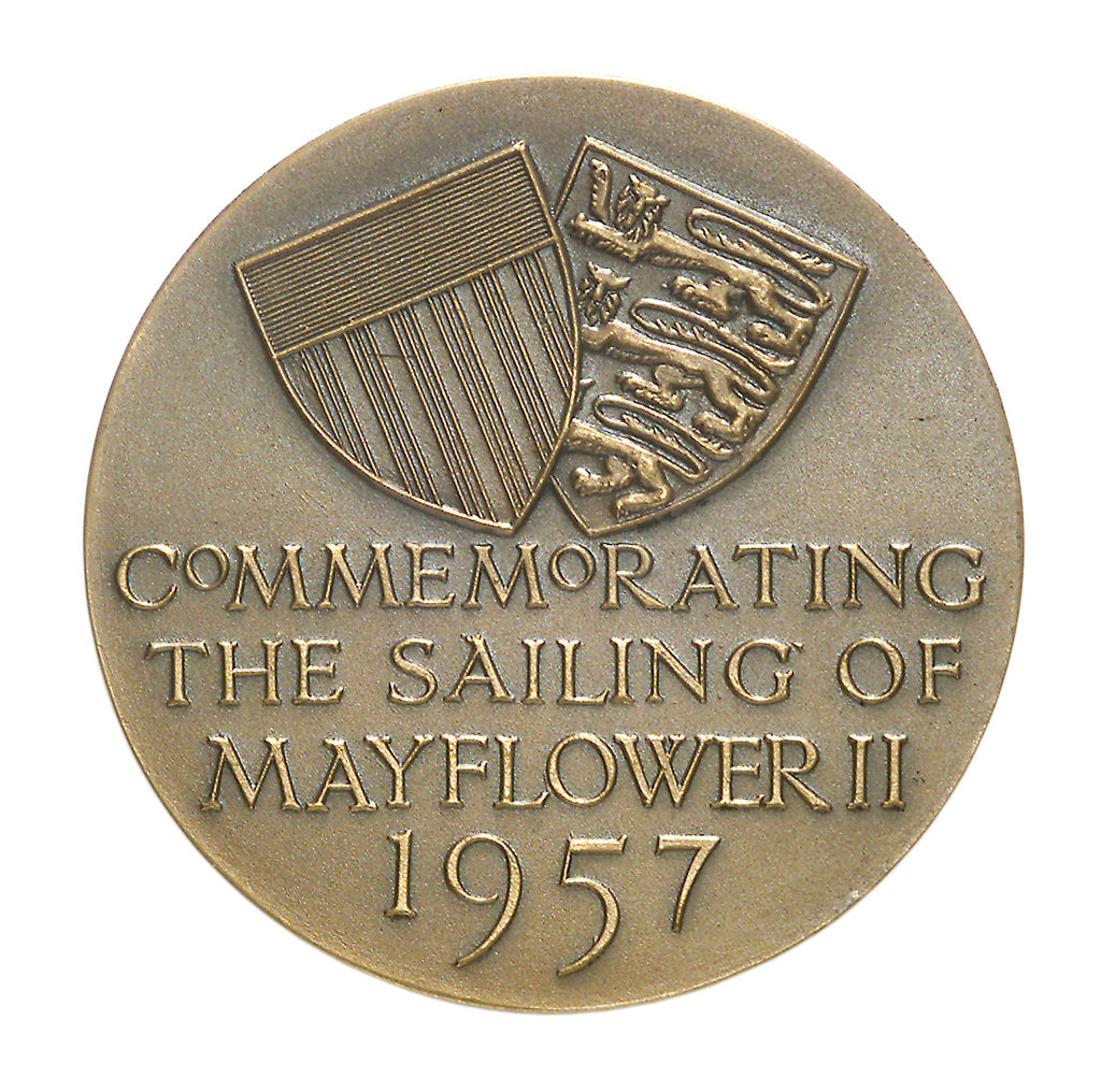 Detail of Medal commemorating the sailing of the 'Mayflower II', 1957; reverse by unknown