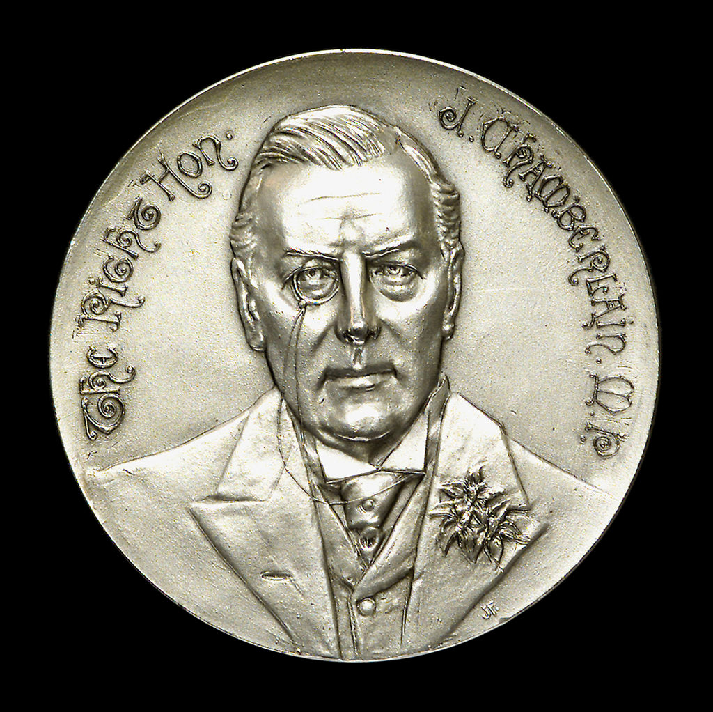 Detail of Medal commemorating HMS 'Good Hope' and the Rt. Hon. Joseph Chamberlain (1836-1914); obverse by J. Fray