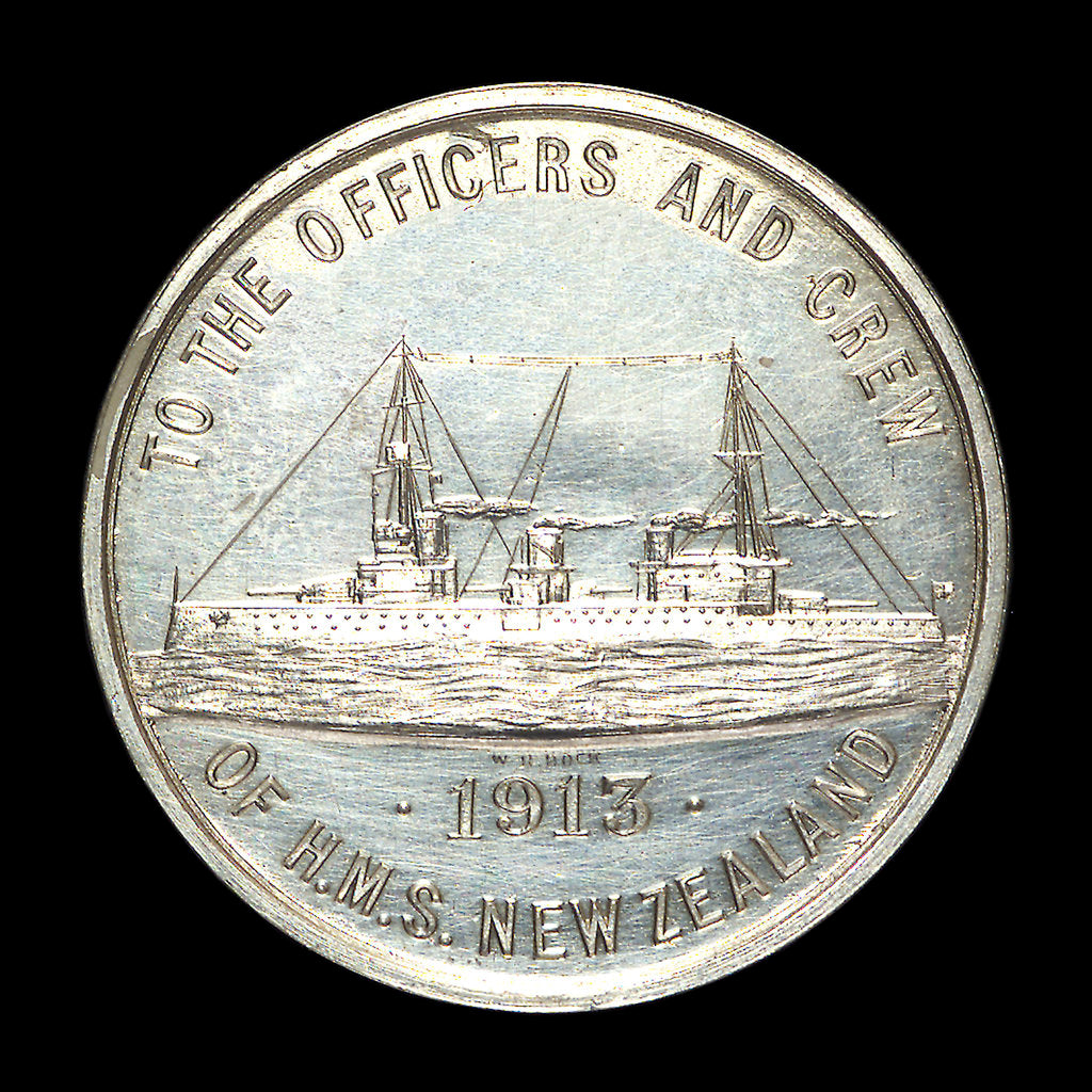 Detail of Medal commemorating HMS 'New Zealand'; reverse by W.R. Bock