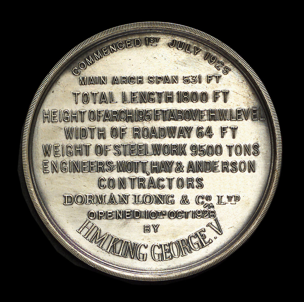 Detail of Medal commemorating the opening of the Tyne Bridge, 1928; reverse by Northern Goldsmiths Co.