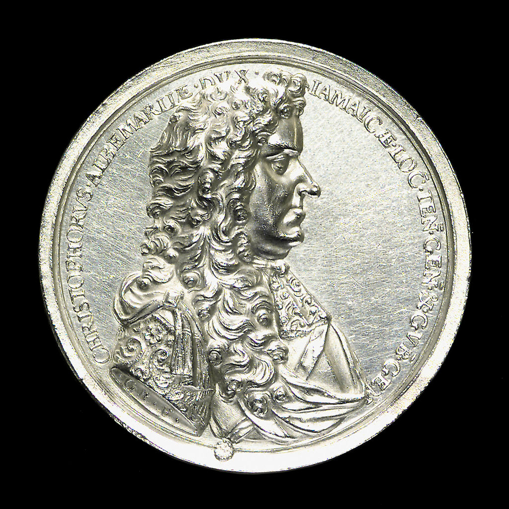 Detail of Medal commemorating the Spanish wreck recovered, 1687; obverse by G. Bower