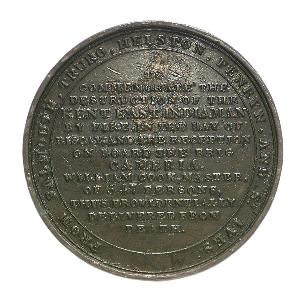 Detail of Medal commemorating the loss of the East Indiaman 'Kent', 1825; reverse by Thomas Halliday
