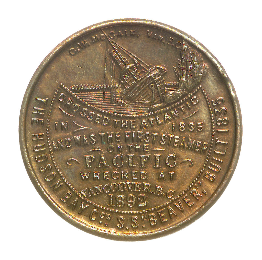 Detail of Medal commemorating the wreck of Hudson Bay Company steamer 'Beaver', 1892; obverse by C.W. McCain