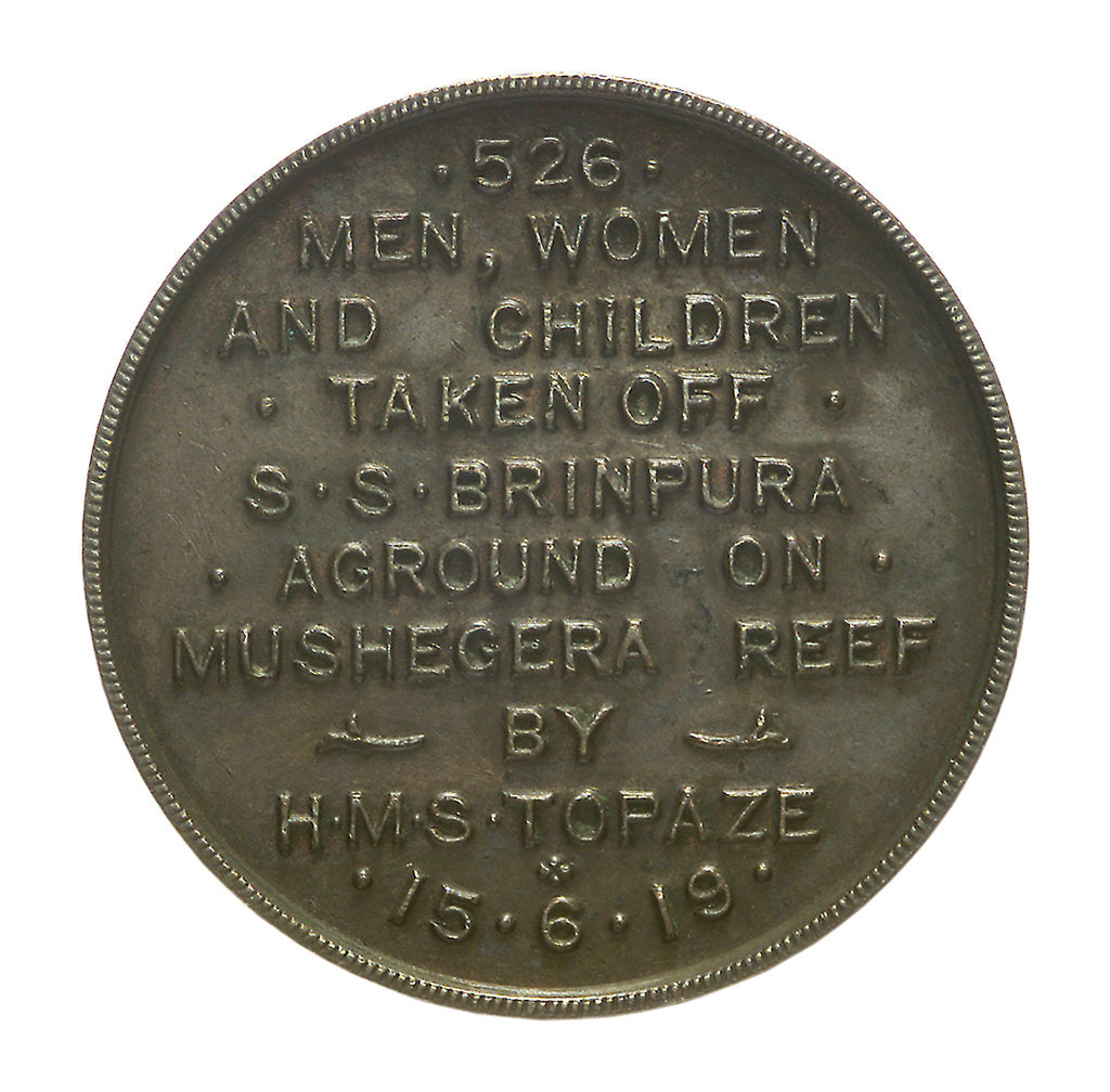 Detail of Medal commemorating the wreck of SS 'Brinpura', 1919; obverse by unknown