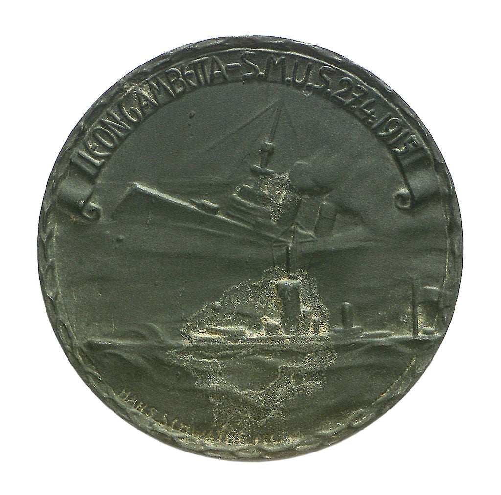 Detail of Medal commemorating the sinking of 'Leon Gambetta' by U5, 1915; obverse by Hans Schwathe