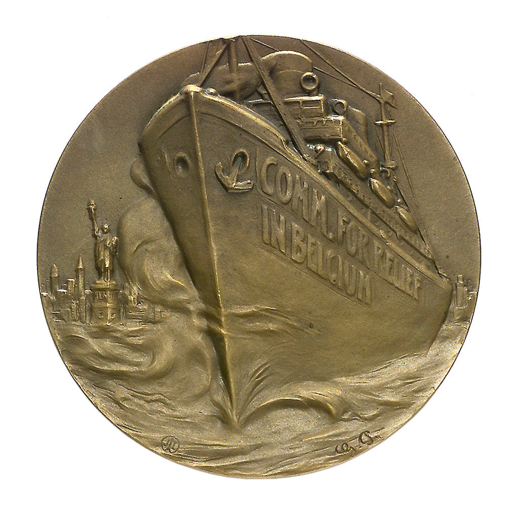 Detail of Medal commemorating relief in Belgium; reverse by G. Petit