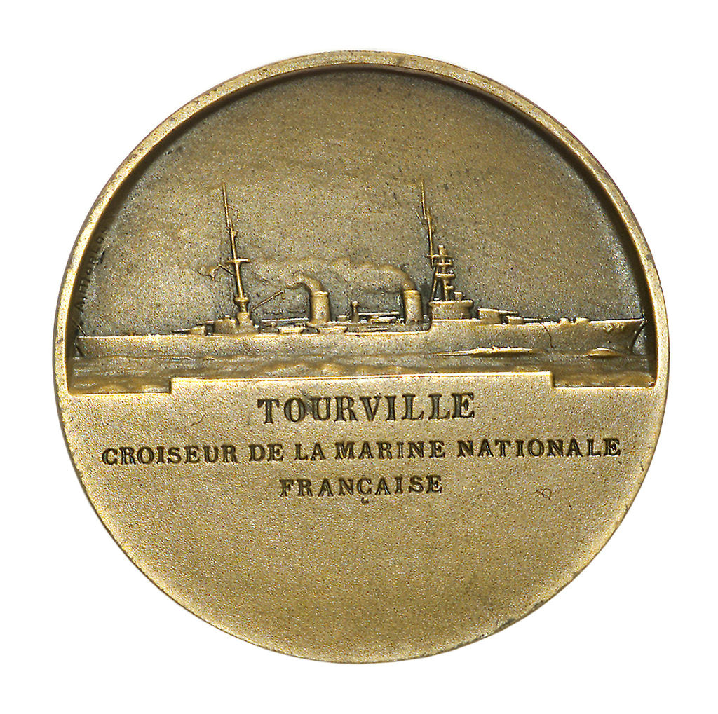 Detail of Medal commemorating Admiral de Tourville (1642-1701) and the cruiser 'Tourville'; reverse by J.A. Pingret