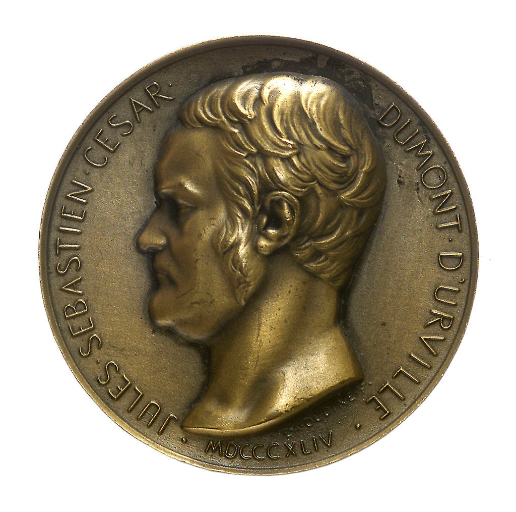 Detail of Medal commemorating Admiral Jules Sébastien César Dumont d'Urville (1790-1840) and the colonial destroyer 'Dumont d'Urville' by E.A. Oudin
