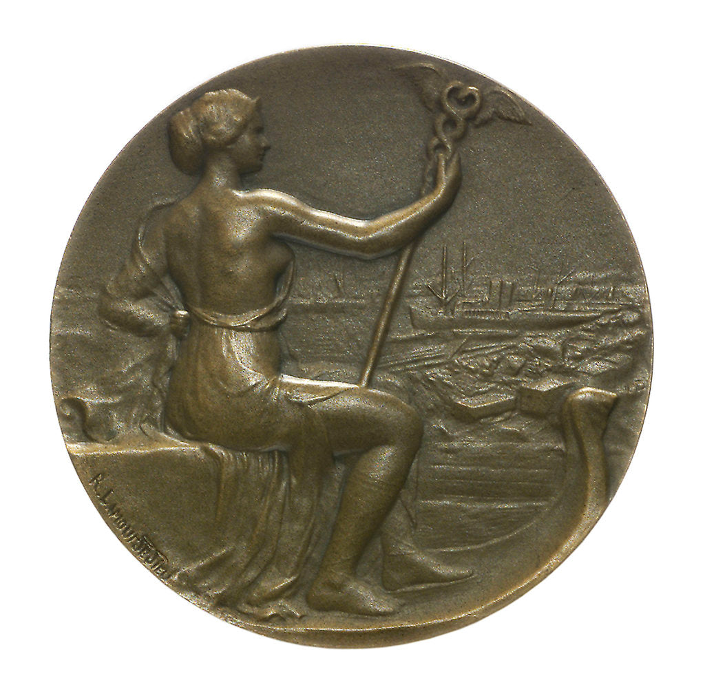 Detail of Medal commemorating The International Congress of Maritime Law; obverse by R.E. Lamourdedieu