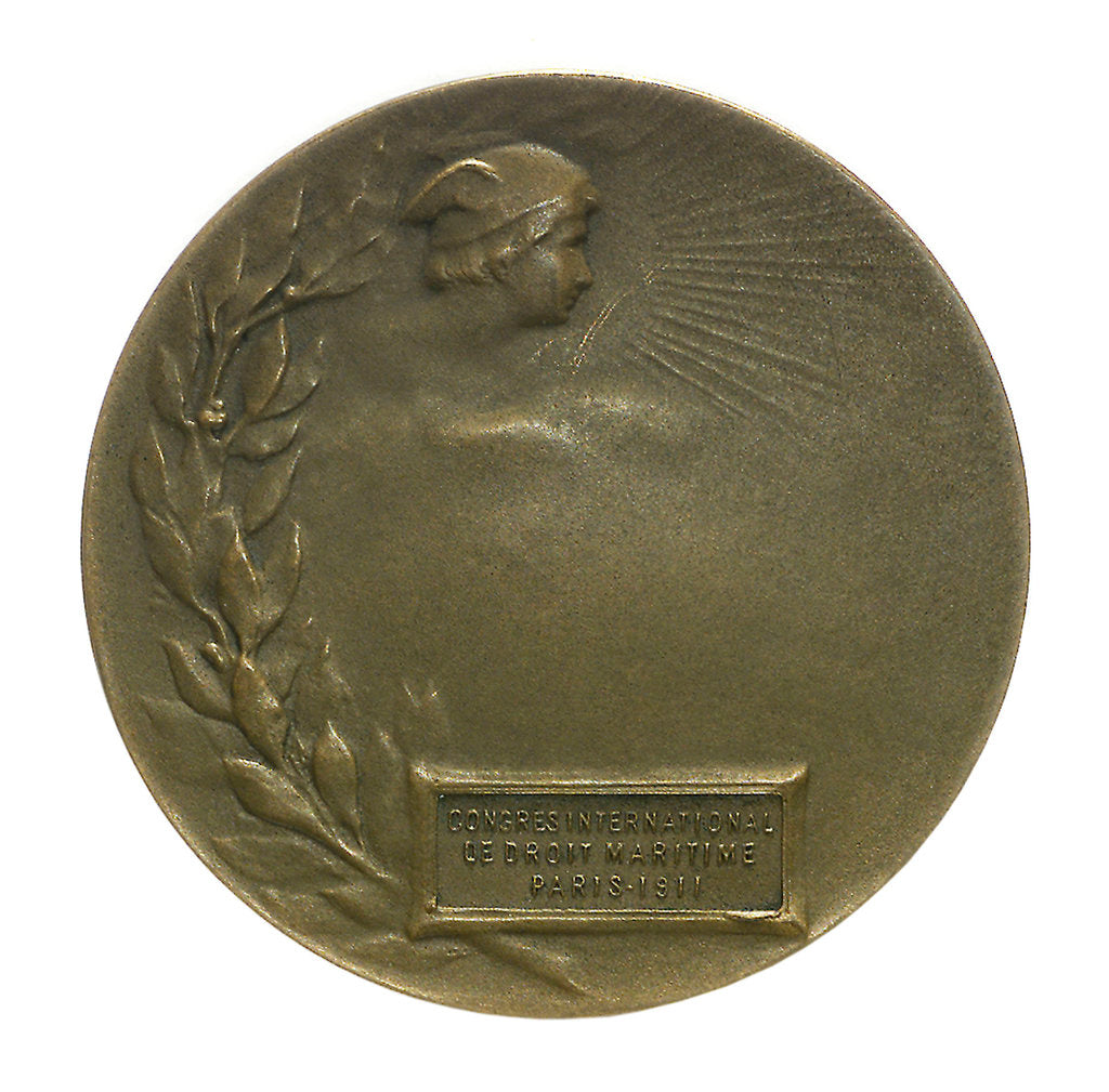 Detail of Medal commemorating The International Congress of Maritime Law; reverse by R.E. Lamourdedieu