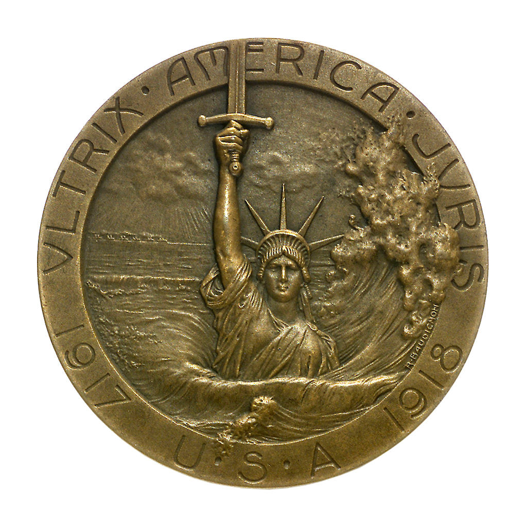 Detail of Medal commemorating the sinking of the SS 'Lusitania', 1915; obverse by R. Baudichon