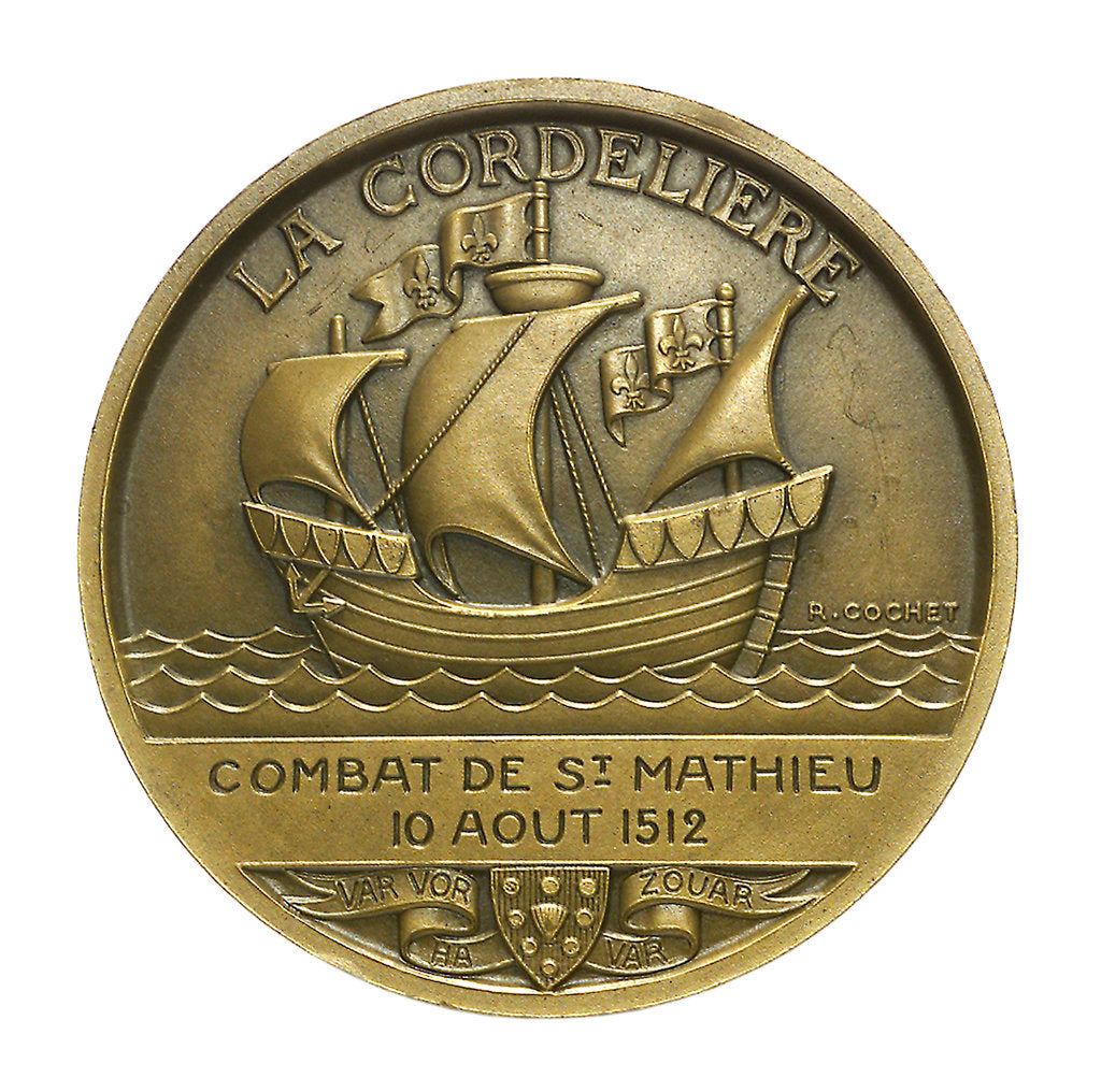 Detail of Medal commemorating La Cordeliere and the cruiser 'Primauguet'; obverse by R. Cochet