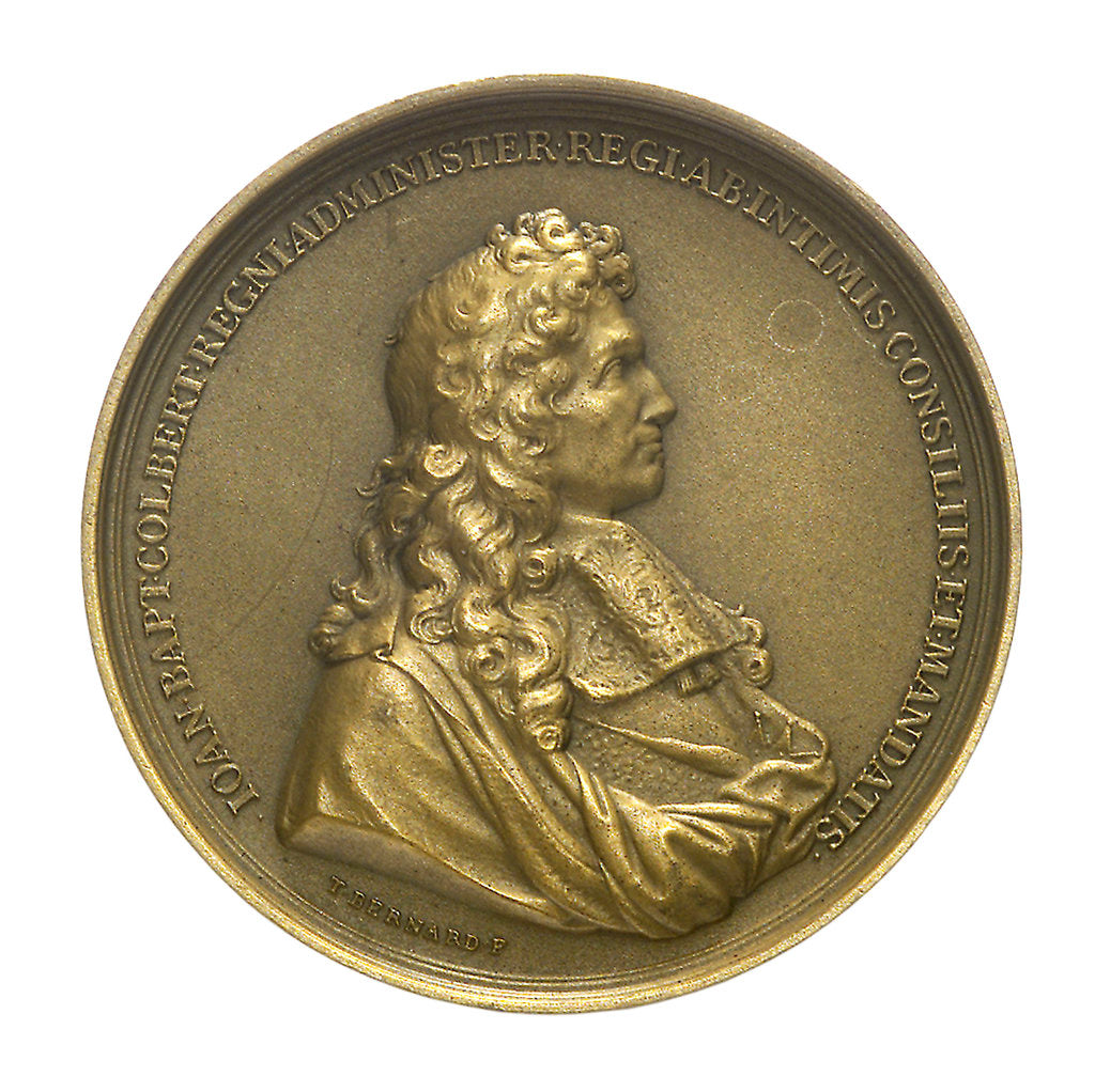 Detail of Medal commemorating the minister Jeane Baptiste Colbert (1619-1683) and the cruiser 'Colbert'; obverse by T. Bernard