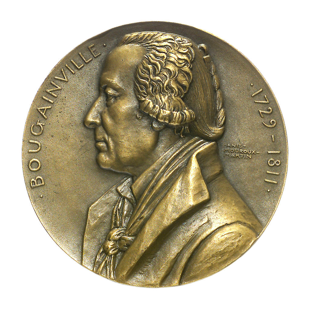 Detail of Medal commemorating the navigator Louis Antoine, Comte de Bougainville (1729-1811) and the destroyer 'Bougainville'; obverse by Anie Mouroux-Martin
