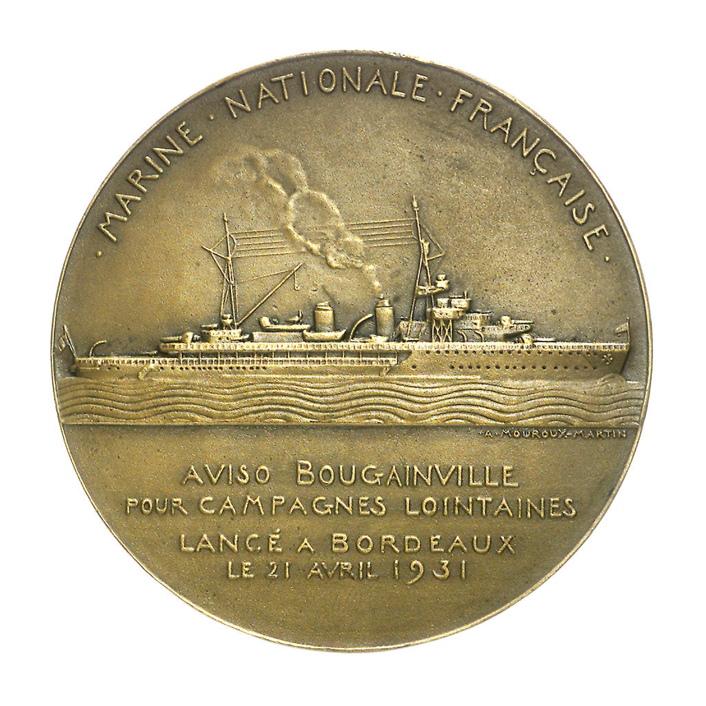 Detail of Medal commemorating the navigator Louis Antoine, Comte de Bougainville (1729-1811) and the destroyer 'Bougainville'; reverse by Anie Mouroux-Martin