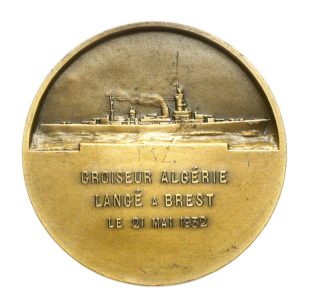 Detail of Medal commemorating the cruiser 'Algérie' by A. Morlon