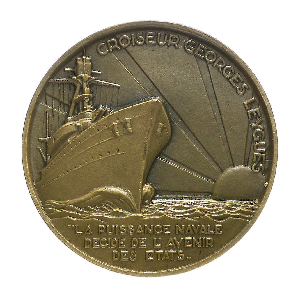 Detail of Medal commemorating Georges Leygues (1856-1933) and the cruiser 'Georges Leygues'; reverse by Georges Guiraud