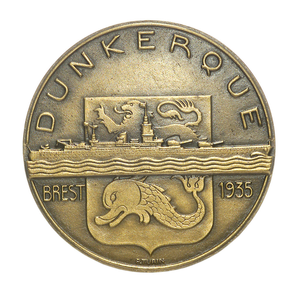 Detail of Medal commemorating the battleship 'Dunkerque'; obverse by Pierre Turin