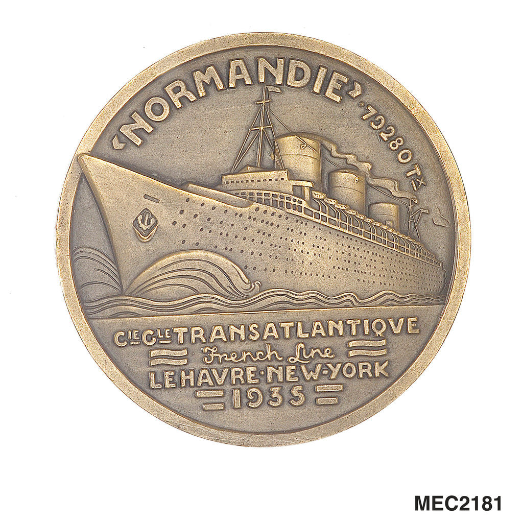 Detail of Medal commemorating the SS 'Normandie' by J. Vernon