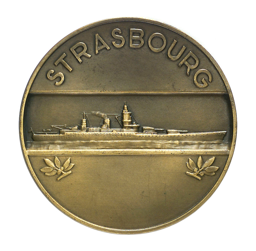 Detail of Medal commemorating the battleship 'Strasbourg'; reverse by P.A. Morlon