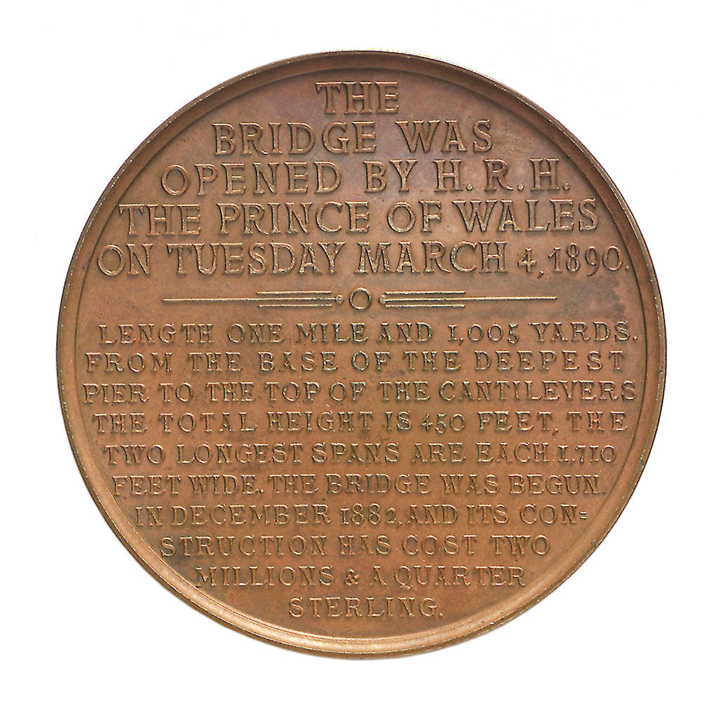 Detail of Medal commemorating the opening of the Forth Bridge, 1890; reverse by Lauer Bros.
