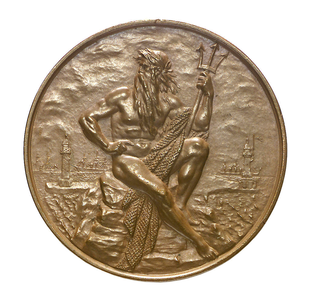 Detail of Medal commemorating the opening of the Keil canal, 1895; obverse by G. Loos