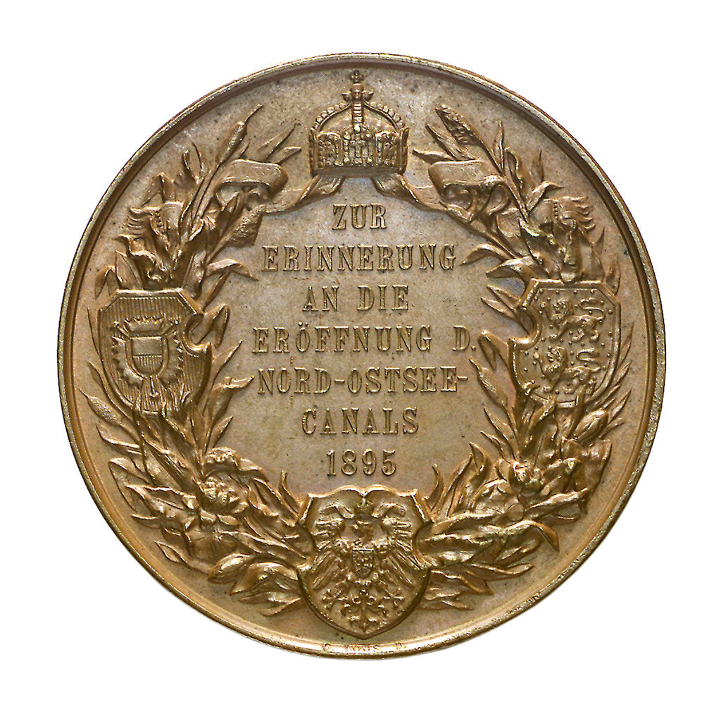 Detail of Medal commemorating the opening of the Keil canal, 1895; reverse by G. Loos