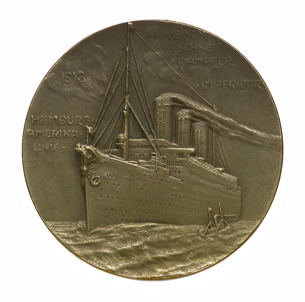 Detail of Medal commemorating SS 'Imperator', Hamburg American Line; reverse by C. K